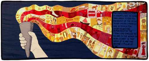 President unveils a tapestry to commemorate the centenary of the 1913 Lockout