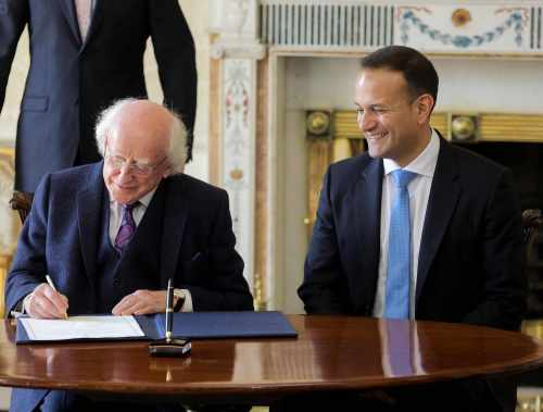 President Higgins presents new Taoiseach Leo Varadkar with Seal of Office