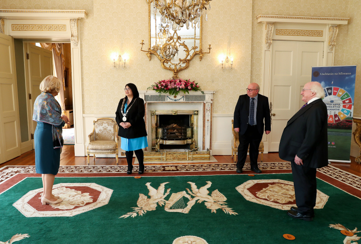 President receives Lord Mayor of Dublin, Hazel Chu and Dublin City Council Deputy Chief Executive, Brendan Kenny on a courtesy call