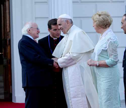 President and Sabina Higgins receive His Holiness Pope Francis