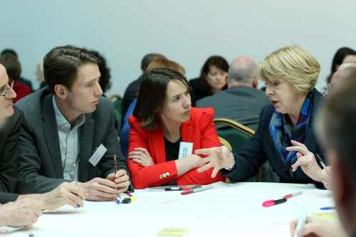 Pic shows  the President's wife Sabina Higgins  taking part in the Community Voices World Cafe Session  with Professor Aoife McLysaght,TCD and Mr. Trevor White.
