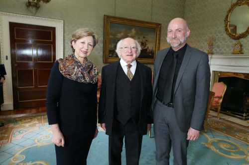 Pic shows  the President Michael D.Higgins with Ms.Olivia O'Leary and Mr.John-Mark McCafferty,Society of St. Vincent De Paul