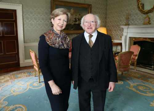 Pic shows the Preisent Michael D.Higgins and  Ms.Olivia O'Leary  who opened the conference