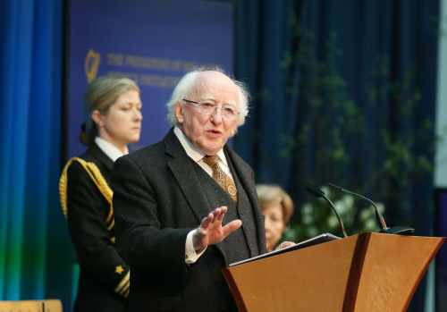 Pic shows the President Michael D.Higgins as he delivered his keynote address.