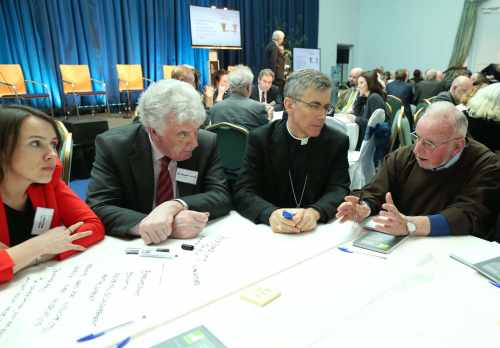 Pic shows  taking part in the Community Voices World Cafe Session are from left Professor Aoife McLysaght,,TCD, Mr. Eamonn Farrell,His Excellency The Most Rev.Charles John  Brown,Papal Nuncio and Br. Kevin Crowley,Capuchin Day Centre.