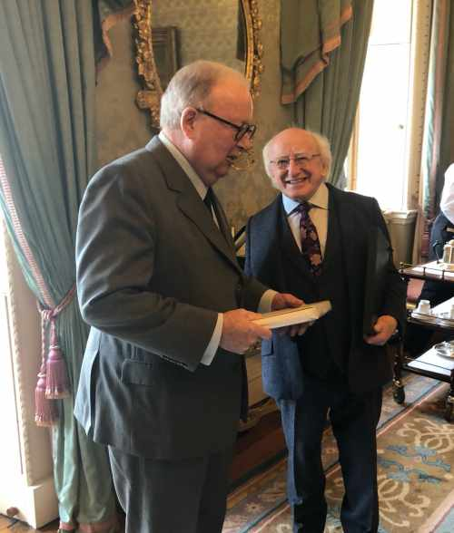 President receives former Ambassador Richard Ryan who presents a booklet on Garech Browne