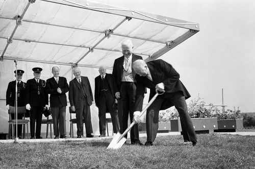 President de Valera cuts the first sod for Science Building at UCD