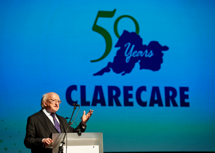 President gives an address at an event to mark the 50th anniversary of Clarecare