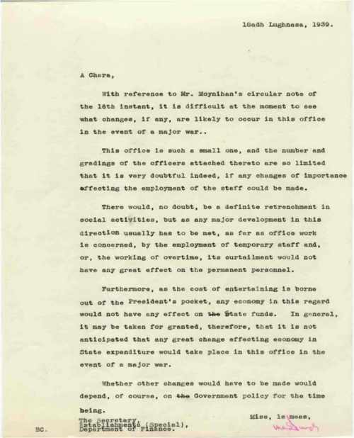 Letter regarding the possible Effect of War on the Office of President