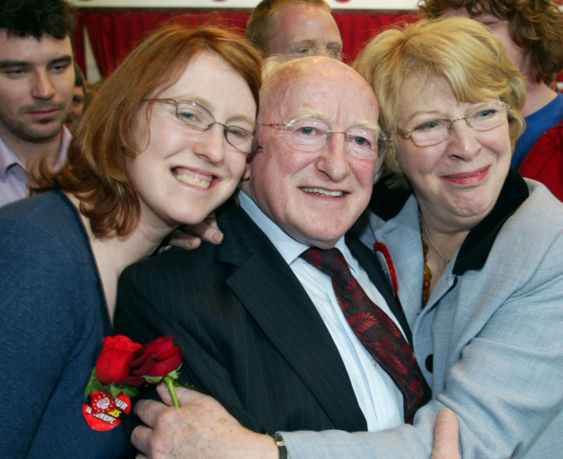 Deputy Michael D Higgins with his wife Sabina and their daughter Alice Mary as he is re-elected at the Galway West count at NUI Galway yesterday. Photograph Joe O'Shaughnessy. 265'07