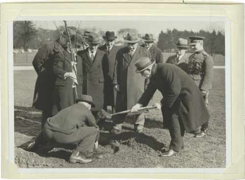 President Hyde planting Cornish Elm Tree