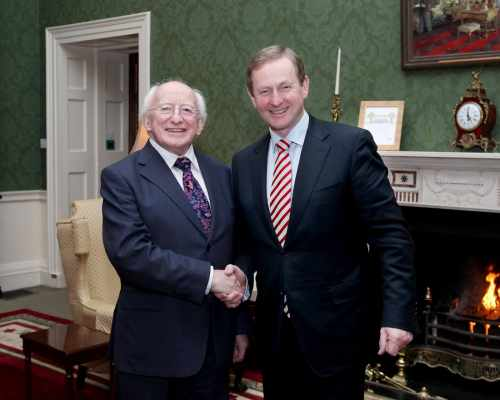 First meeting between President Higgins and Taoiseach Enda Kenny
