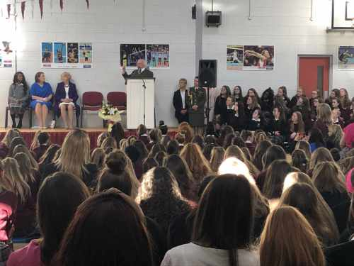 President visits Holy Family Secondary School