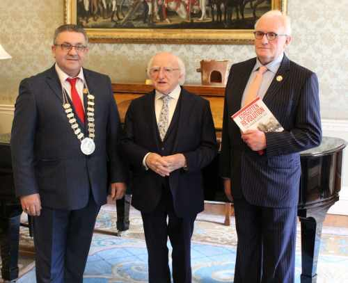 President receives representatives from Limerick Trades Council who will present a copy of 'Forgotten Revolution – The Limerick Soviet 1919'