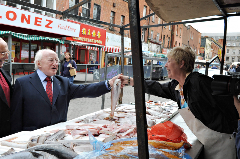 Labour Party Presidential candidate, Michael D. Higgins is pictured on Moore Street AUG 2011