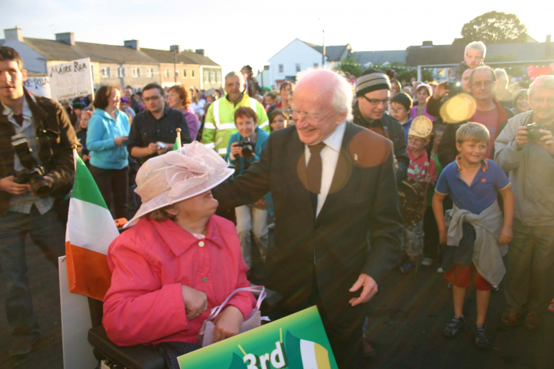 Labour nominated presidential candidate Michael D. Higgins at the parade of the launch of the Village Carnival Festival, Galway, 26th August