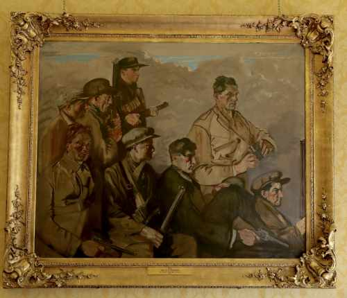 President and Sabina receive family descendants of the men portrayed in the painting '1921 - An IRA Column'