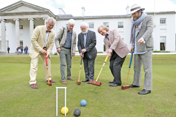 Pictured before meeting the President and enjoying a spot of Croquet on the lawn were musicians including Ken Hartnett , Michael Howard, John Sheahan, Noel O'Grady and Liam O 'Maonlai.