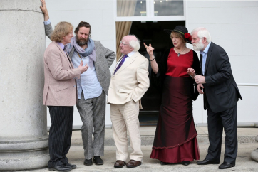 Pictured chatting was musicians Noel O'Grady, Liam O 'Maonlai, President Michael D. Higgins , President's wife Sabina and John Sheahan.