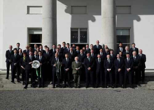 President Higgins hosts a reception in honour of the Irish Rugby Team's Grand Slam victory
