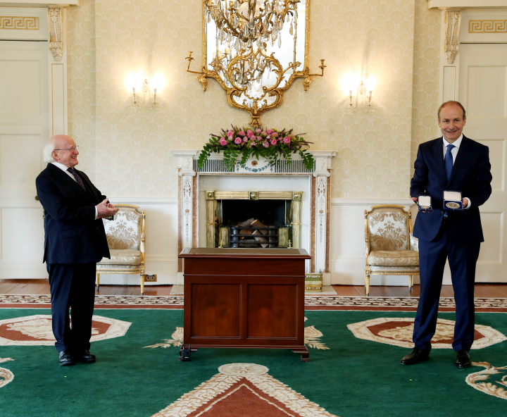 President Higgins presents Taoiseach with Seal of Office
