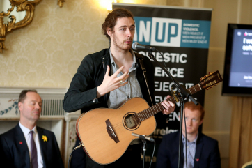 Hozier preforming his song Cherry Wine at the He for She Campaign and MAN UP Campaign.