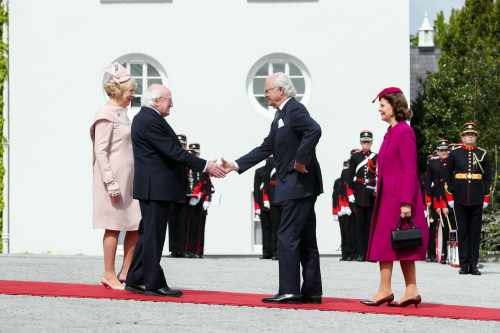 President Higgins welcomes their Majesties King Carl XVI Gustaf and Queen Silvia of Sweden