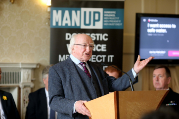 President Michael D Higgins speaking at the He for She Campaign and MAN UP Campaign.