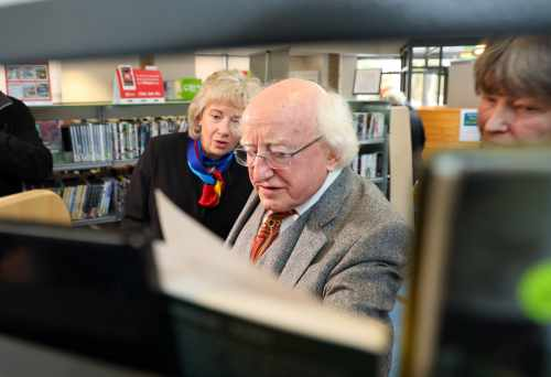 President visits Cabra Library to mark donation of book collection to Public Library Services