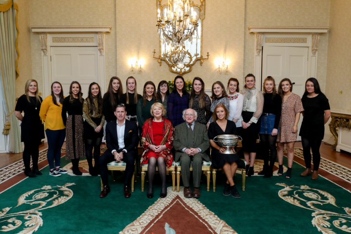 President and Sabina host a reception for the All Ireland Camogie Winners 2018 - Cork