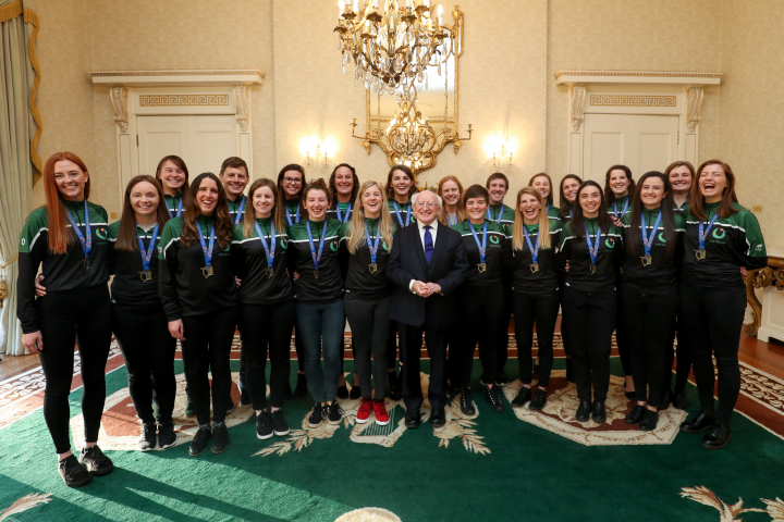 President receives the Irish Women's Ultimate Frisbee European Championship Winners
