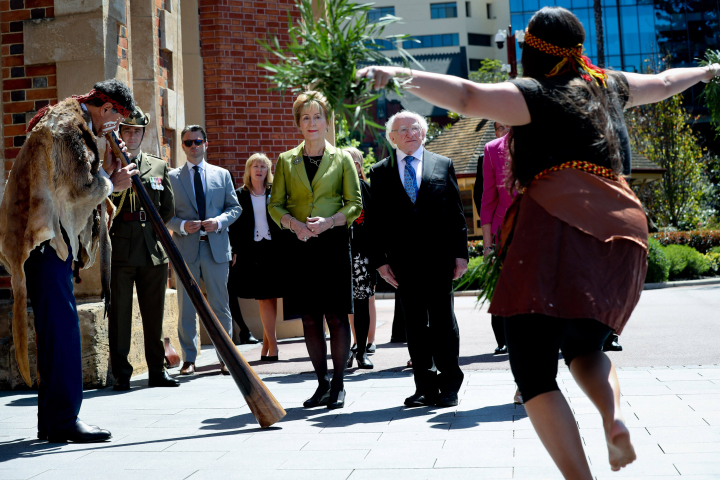 President and Sabina attend a traditional 'Welcome to Country' Smoking Ceremony