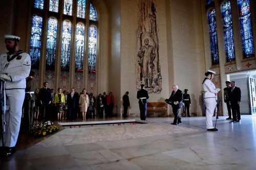President And Sabina Attend A Wreath Laying Ceremony At The Australian War Memorial