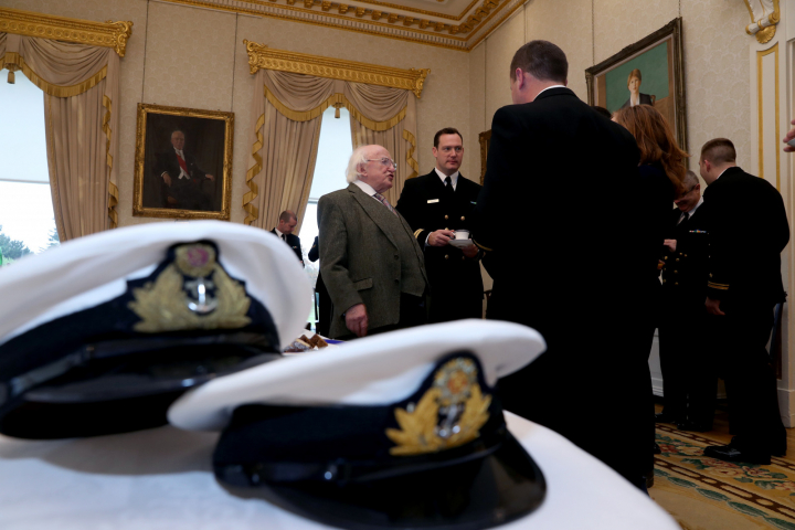 President receives the crew of L.É. William Butler Yeats