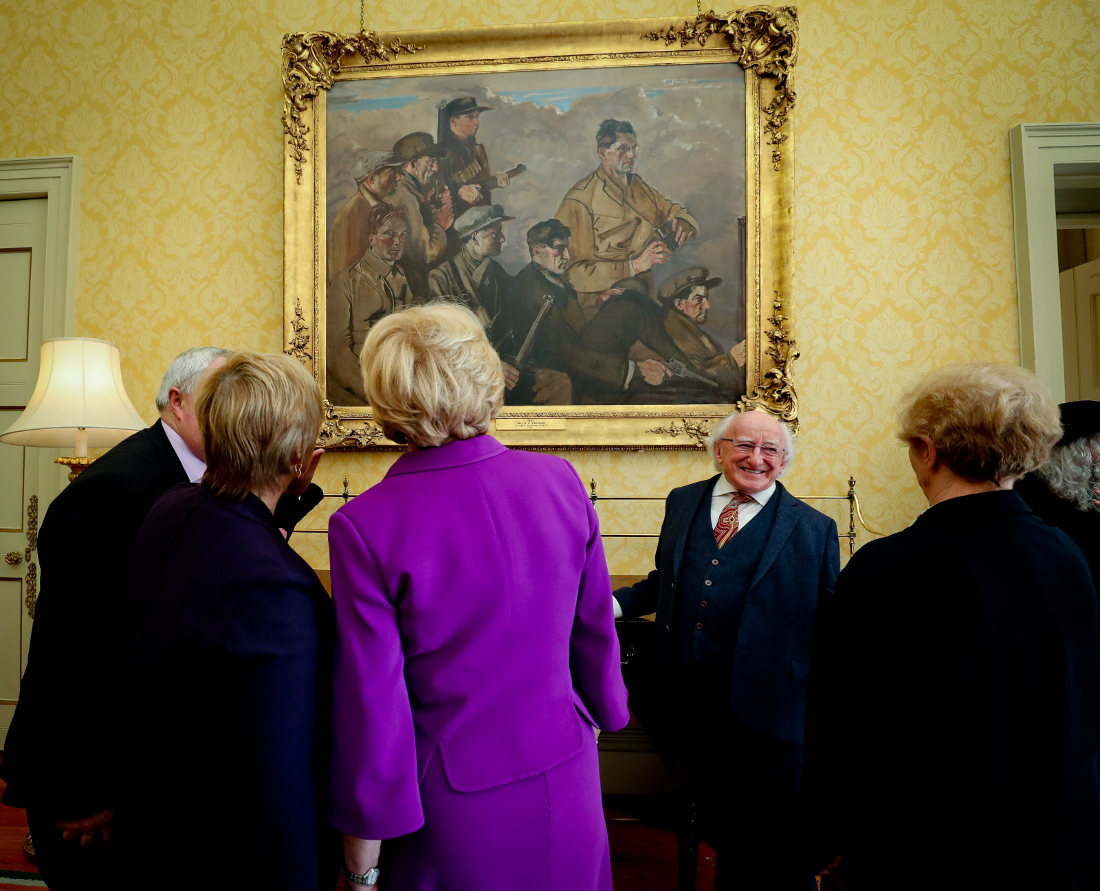President and Sabina receive descendants of the men portrayed in the painting '1921 - An IRA Column'