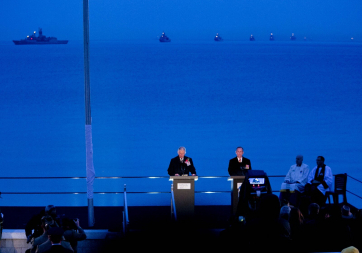Pictured is HRH Prince Charles giving an address at the Anzac Spirit of Place and Dawn Service at Gallipoli