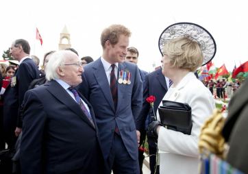 Pictured is President Michael D Higgins and his wife Sabina with HRH Prince Harry at the Memorial to the Martyrs of the Turkish 57th Regiment Service