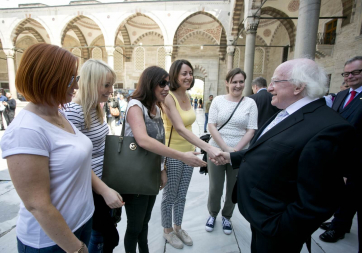 President Michael D Higgins has a chance meeting with Margaret Anne Hennessy, Michelle Martin, Susan Brosnan and Kerryann Wallace from Limerick and Galway at the Blue Mosque in Istanbul
