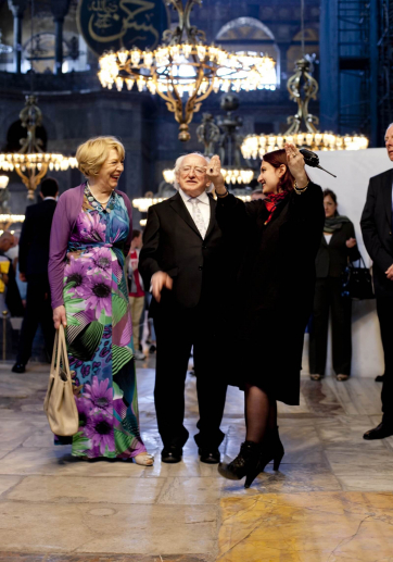 Pictured is President Michael D Higgins and his wife Sabina with Ms Dafne Tekey Deputy Manager of the Hagia Sofia in Istanbul