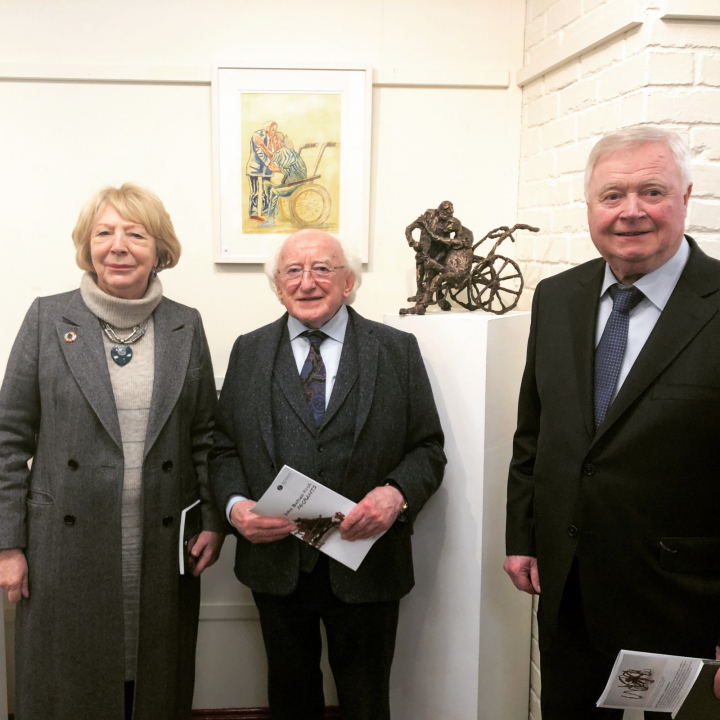 "President opens the John Behan ""Migrations"" exhibition of free standing sculptures and wall pieces"