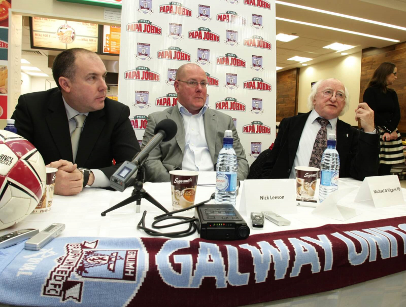Sean Connor newly appointed manager of Galway United with Nick Leeson, CEO of the Club, and Michael D Higgins, President,at Supermacs