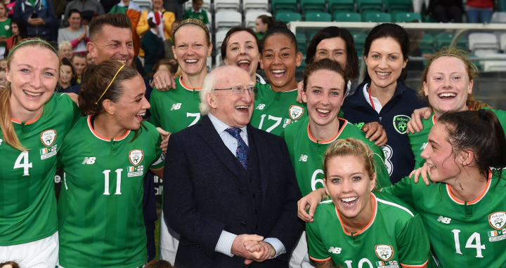 President attends 2019 FIFA Women's World Cup Qualifiers Soccer match between Ireland and Northern Ireland