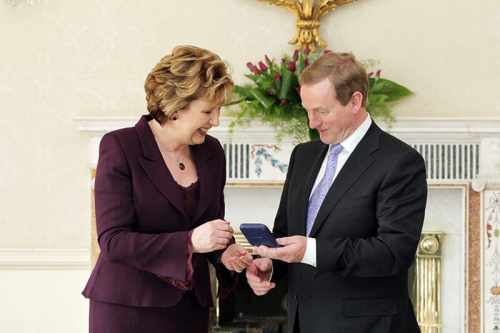 President McAleese presents seal of office to Taoiseach Enda Kenny