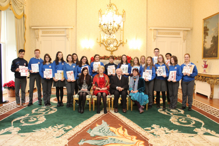 Staff and students from Gort Community School visit Áras an Uachtaráin
