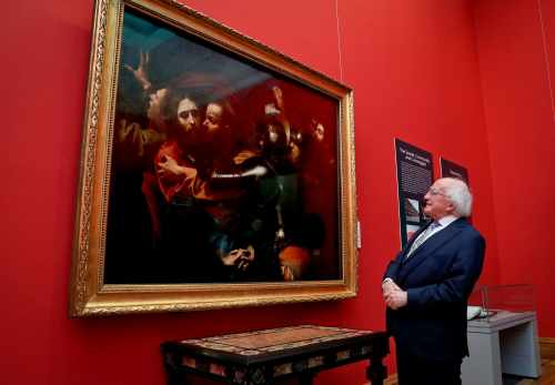 President marks 25th anniversary of  the unveiling of Caravaggio's The Taking of Christ