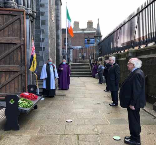 President Michael D Higgins lays wreath commemorating Ireland's war dead